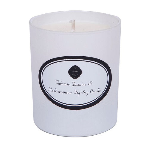 White tuberose jasmine and mediterranean fig perfumed soy wax candle in white container