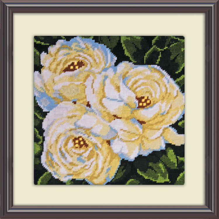 Kit petit point - les roses blanches 2515