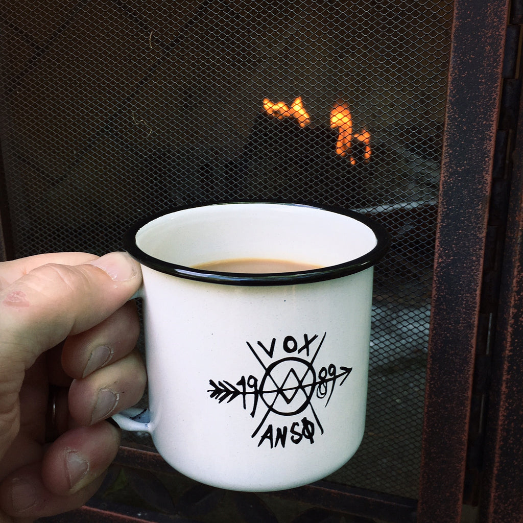Enamelware Campfire Mug - GiantMouse Knives - Anso Vox Collaborations