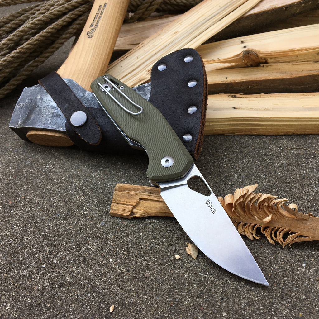 ACE Nimbus - Green G10 - GiantMouse Knives - Anso Vox Collaborations