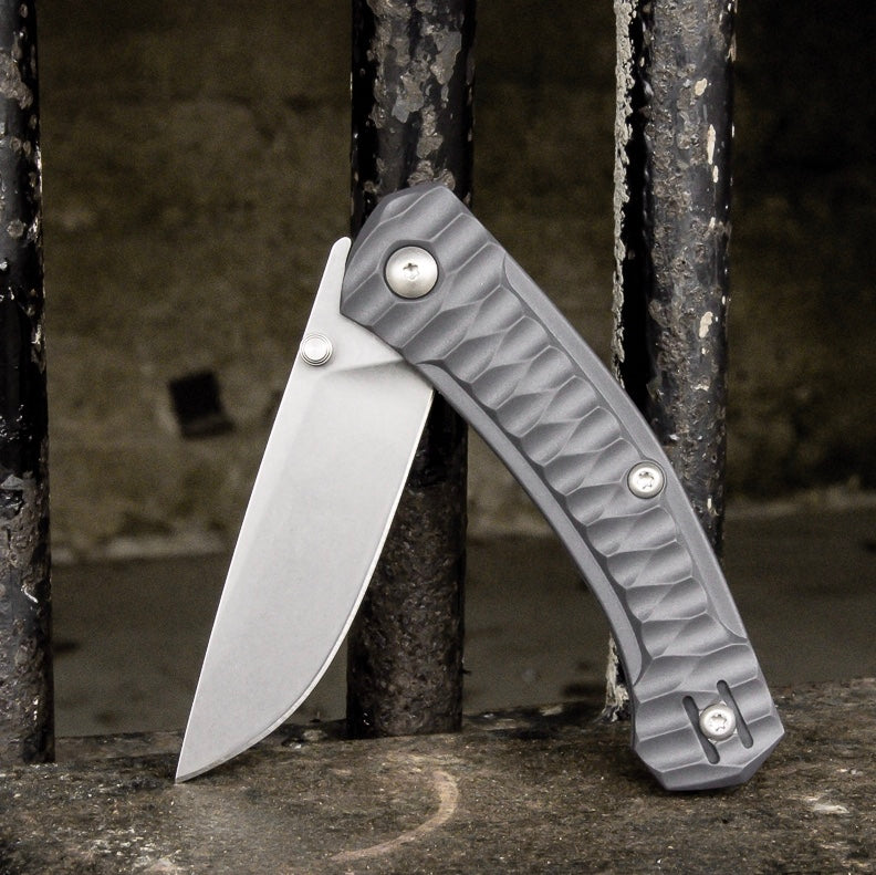 ACE Iona - Wolf Grey / Tumbled Finish - GiantMouse Knives - Anso Vox Collaborations