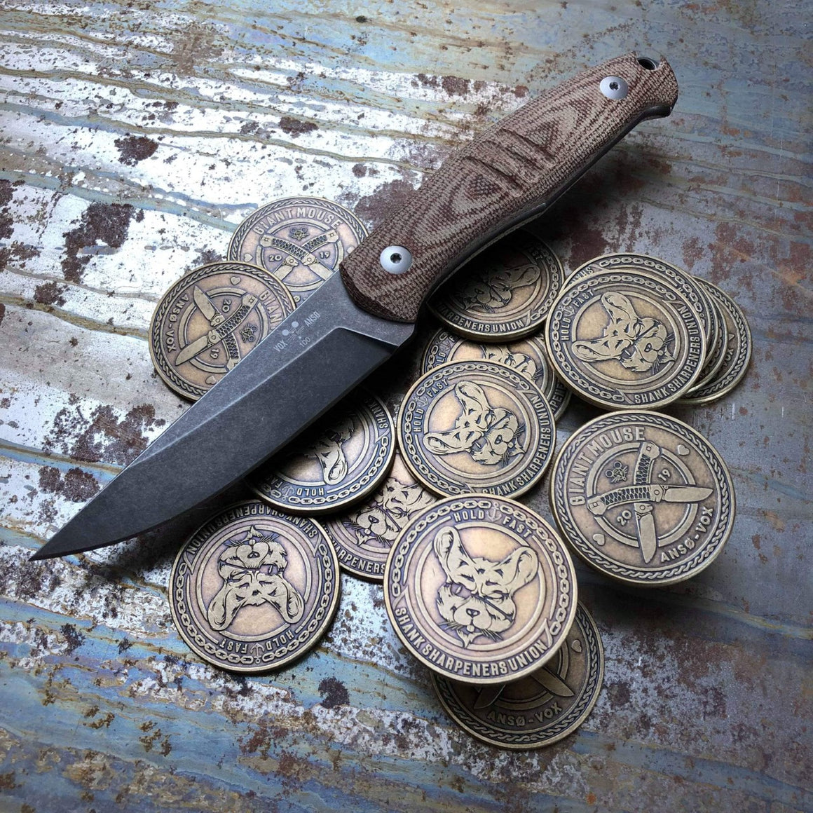 Shank Sharpeners Union 2019 Coin - GiantMouse Knives - Anso Vox Collaborations