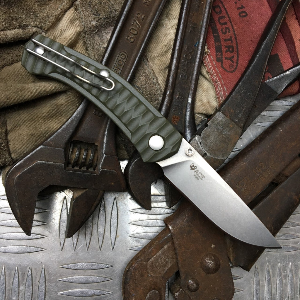ACE Iona - Olive Drab / Tumbled Finish - GiantMouse Knives - Anso Vox Collaborations