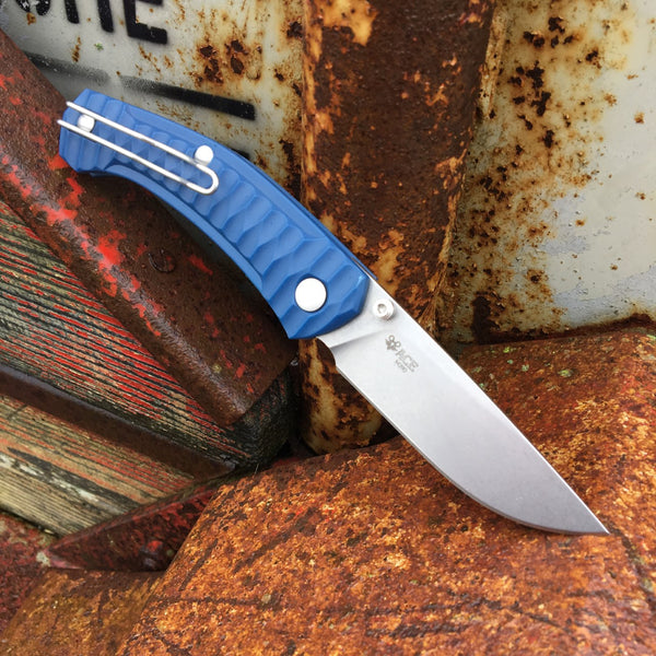 ACE Iona - Navy Blue / Tumbled Blade - GiantMouse Knives - Anso Vox Collaborations