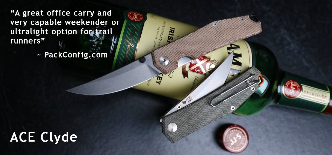 GiantMouse ACE Clyde in Natural Canvas Micarta and Green Canvas Micarta