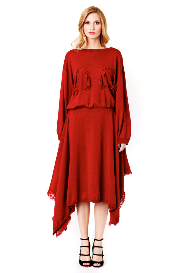 ASYMMETRIC RED WOOL SKIRT SANSOVINO 6 MCPOPS