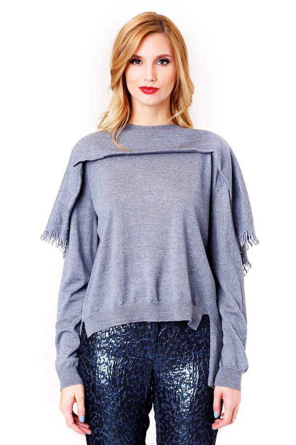 GREY WOOL PONCHO SWEATER SANSOVINO 6 MCPOPS
