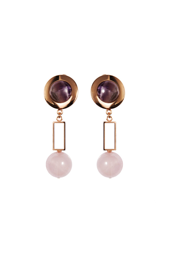 Crystalline Jewellery | Clip Earrings Amethyst And Rose Quartz | MCPOPS