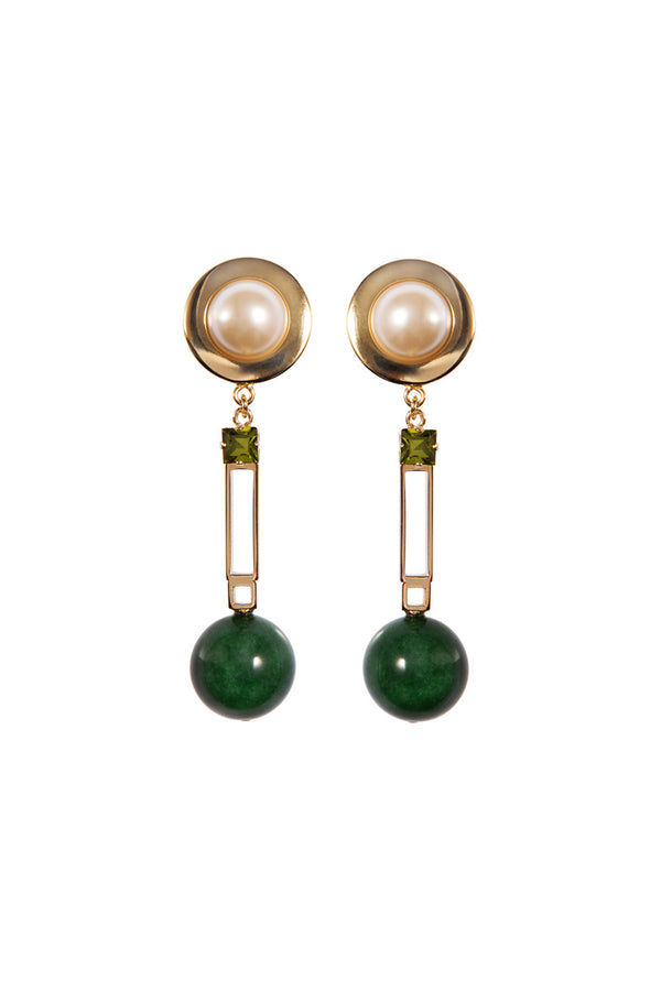 Crystalline Jewellery | Clip Earrings With Green Agate And Faux Pearl | MCPOPS