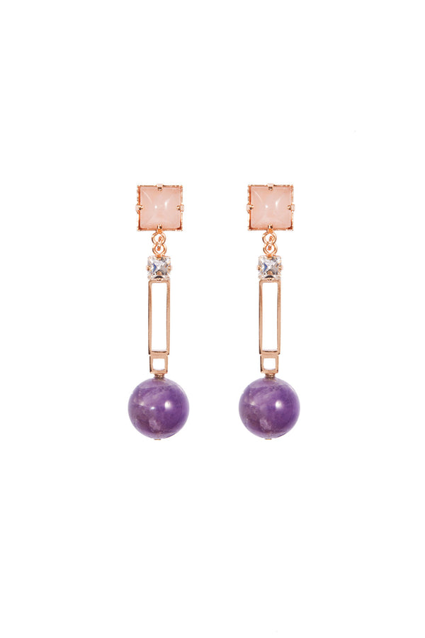 Crystalline Jewellery | Earrings With Amethyst And Rose Quartz | MCPOPS