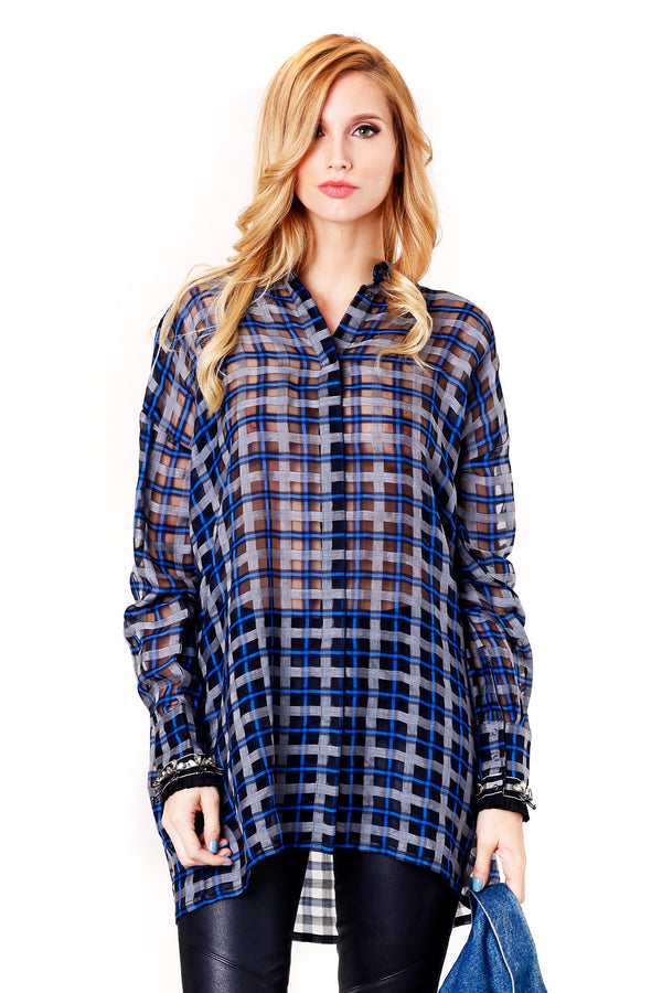 ROYCE CHECKED ORGANZA SHIRT MOTHER OF PEARL MCPOPS