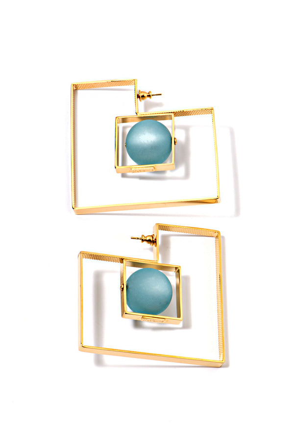 Crystalline Jewellery | Square Earrings Blue Beads | MCPOPS