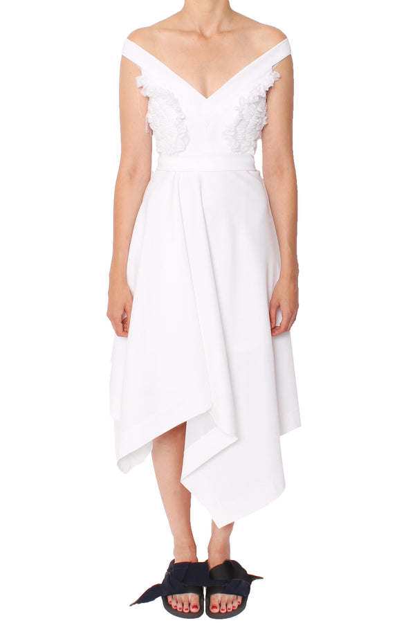 Preen By Thornton Bregazzi | Peggy White Crepe Dress | MCPOPS