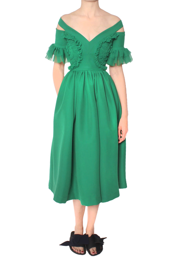 DARCY EMERALD CREPE DRESS