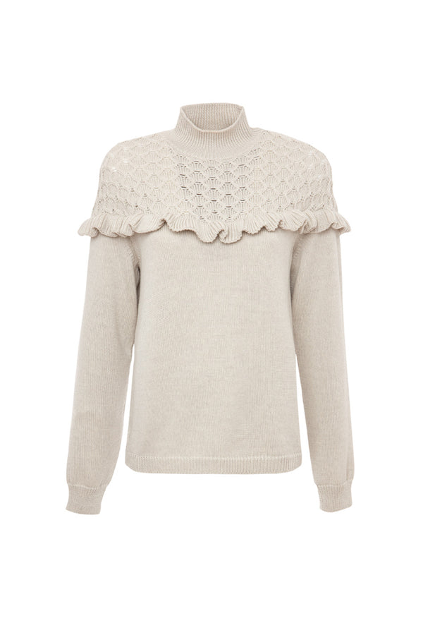 GAIL RUFFLE TRIM WOOL SWEATER