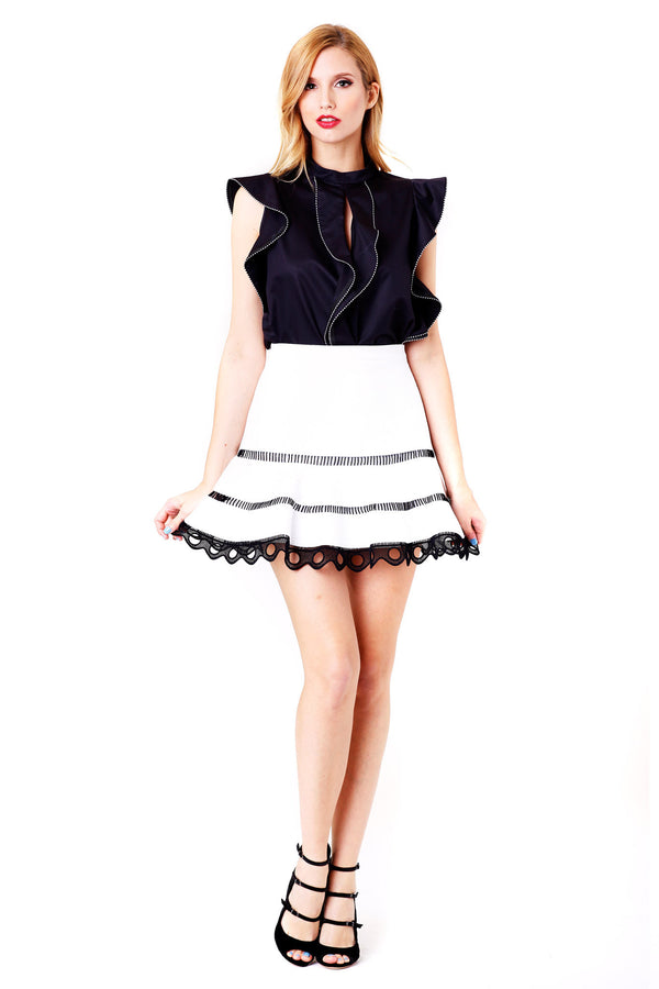 EDIELY MINI SKIRT WITH CONTRAST BLACK LACE SCALLOPED HEM - ALEXIS - MCPOPS