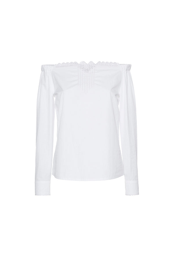 OLENA OFF-THE-SHOULDERS WHITE BLOUSE