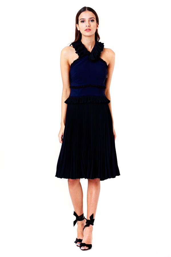 RUFFLED NAVY DRESS WITH PLEATED SKIRT ANTONIO BERARDI MCPOPS