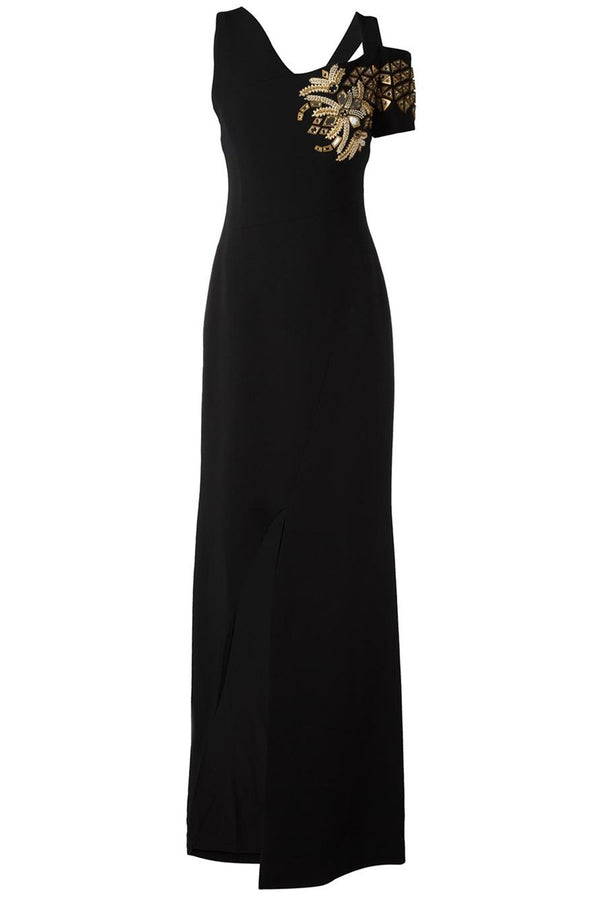 EMBELLISHED ASYMMETRIC BLACK DRESS