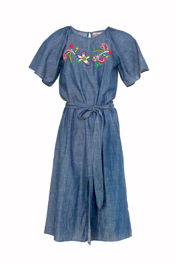 DAHLIA EMBROIDERED DENIM DRESS