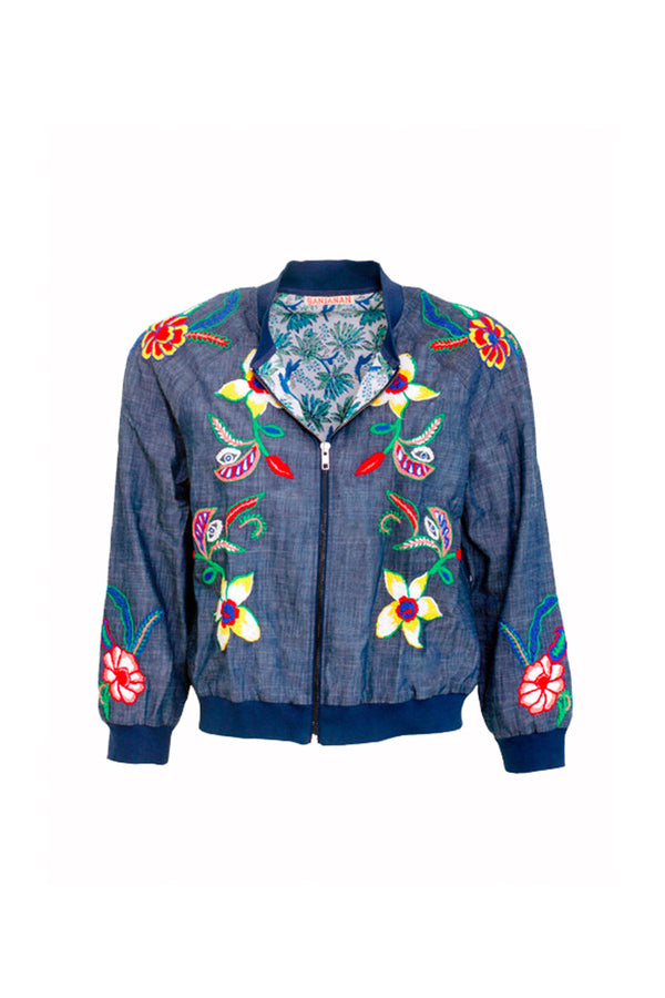 BERTHA EMBROIDERED DENIM BOMBER