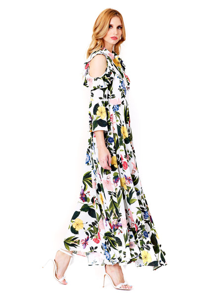 CEPOLA COLD SHOULDERS PRINTED MAXI DRESS