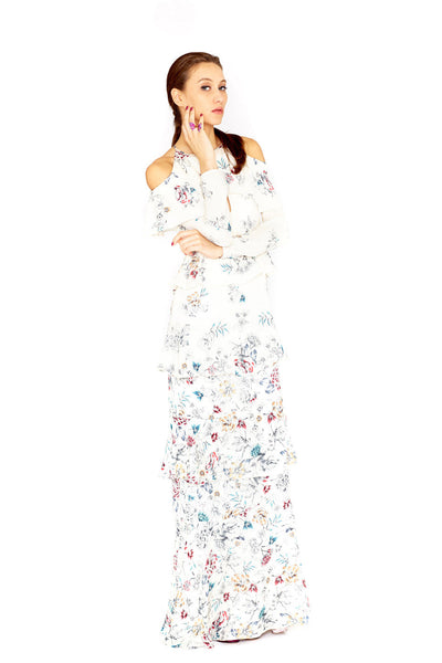 ANNABELLE - PRINT JAQUARD TIERED MAXI DRESS