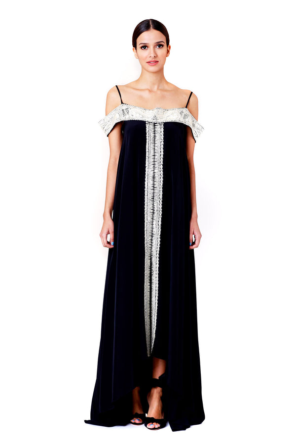 Vilshenko | Elvira Tsarina Embroidered Heavy Silk Full Length Dress | MCPOPS