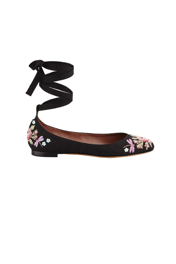 DARIA EMBROIDERED FLATS WITH ANKLE-WRAP