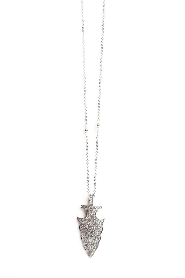 DIAMONDS AND SILVER ARROWHEAD NECKLACE