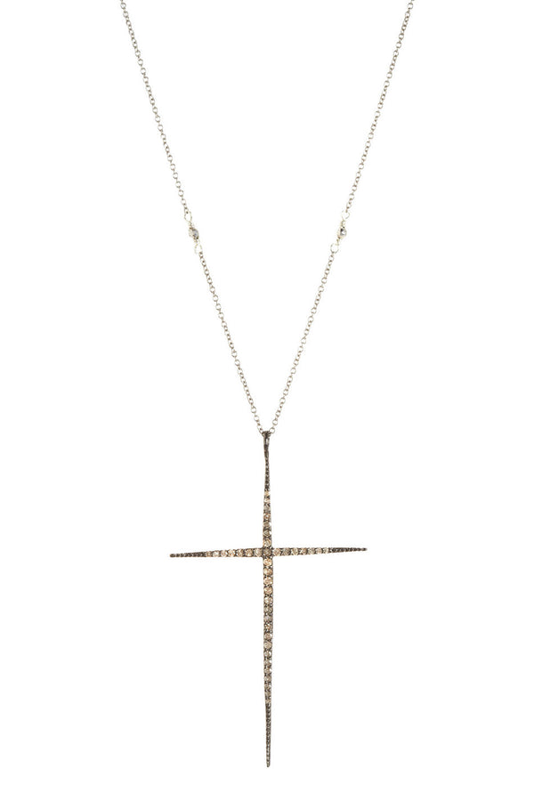 SILVER AND DIAMONDS CROSS