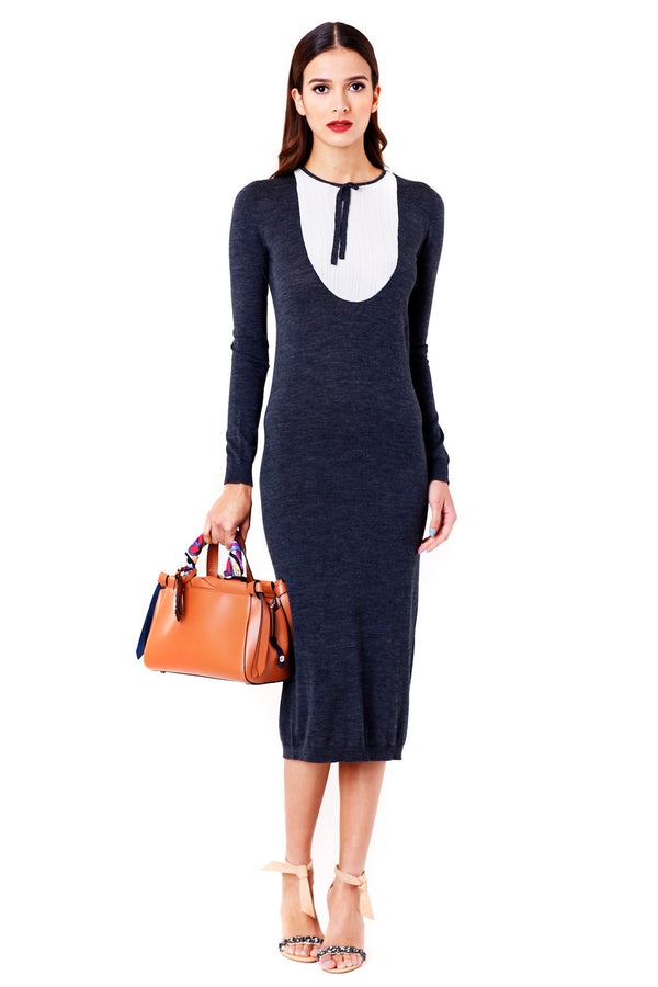 GREY WOOL DRESS WITH CONTRASTING BIB TAK.ORI MCPOPS
