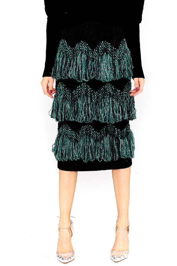 INLAY FRINGE SKIRT - PHELAN - MCPOPS