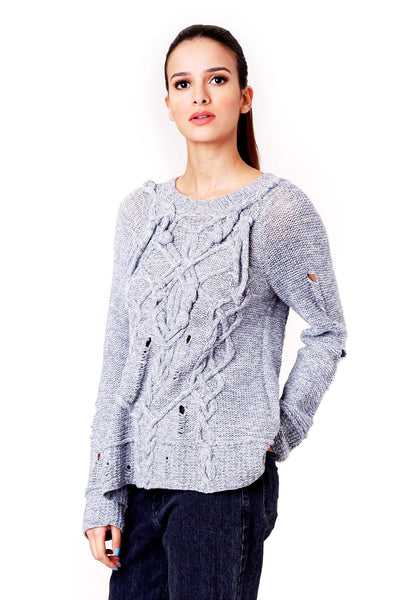 DISTRESSED HAND KNITTED GREY SWEATER