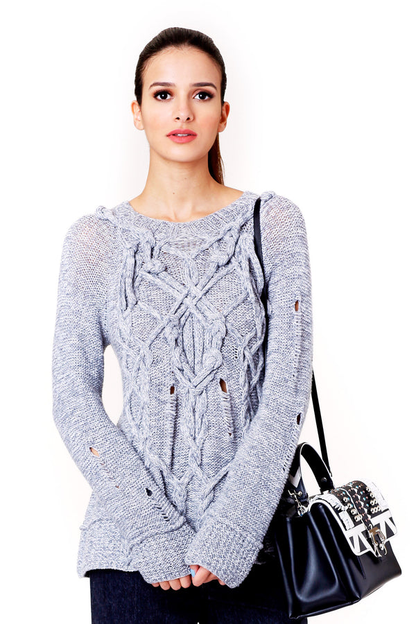 DISTRESSED HAND KNITTED GREY SWEATER SPENCER VLADIMIR MCPOPS