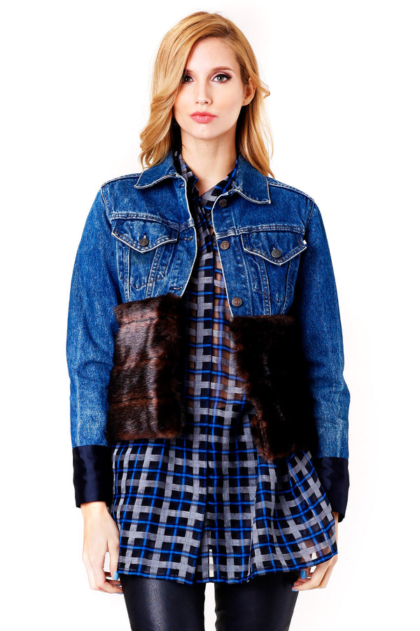 DENIM AND FAUX-FUR JACKET HARVET FAIRCLOTH MCPOPS