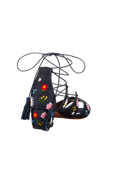 ISADORA EMBROIDERED DENIM SANDALS
