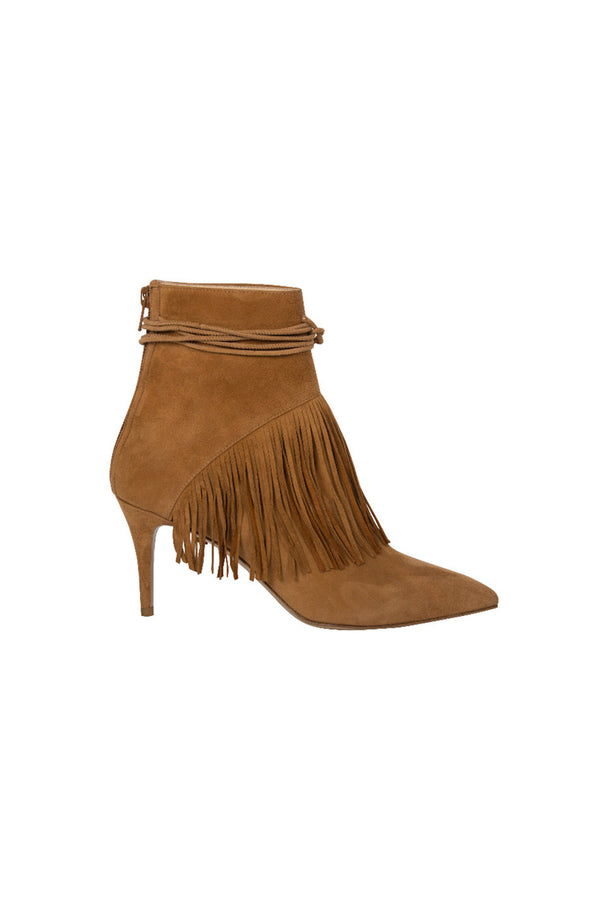 MIMI - TOBACCO CALF SUEDE FRINGED ANKLE BOOT