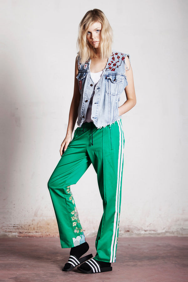 EMBROIDERED GREEN TROUSERS