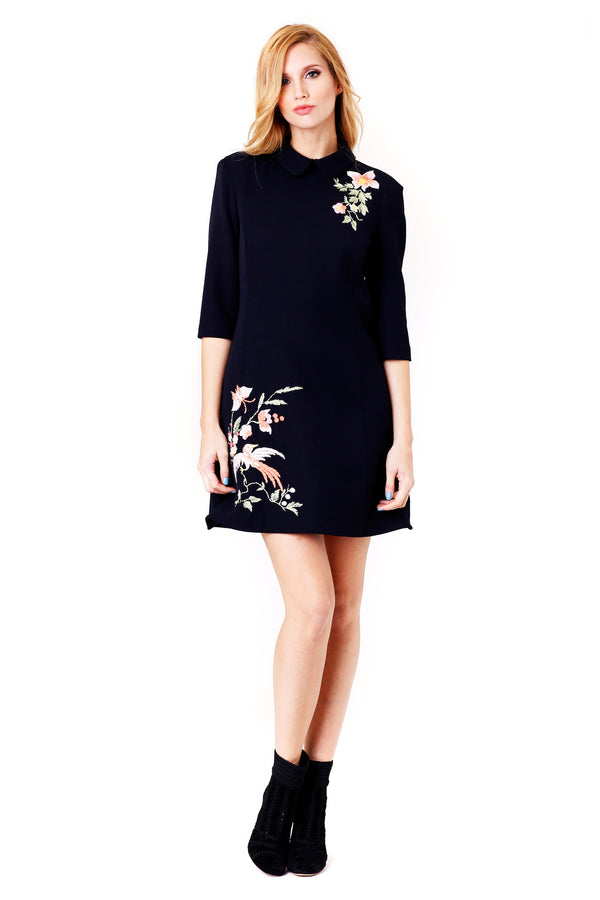 PINO EMBROIDERED BLACK MINI DRESS VIVETTA MCPOPS