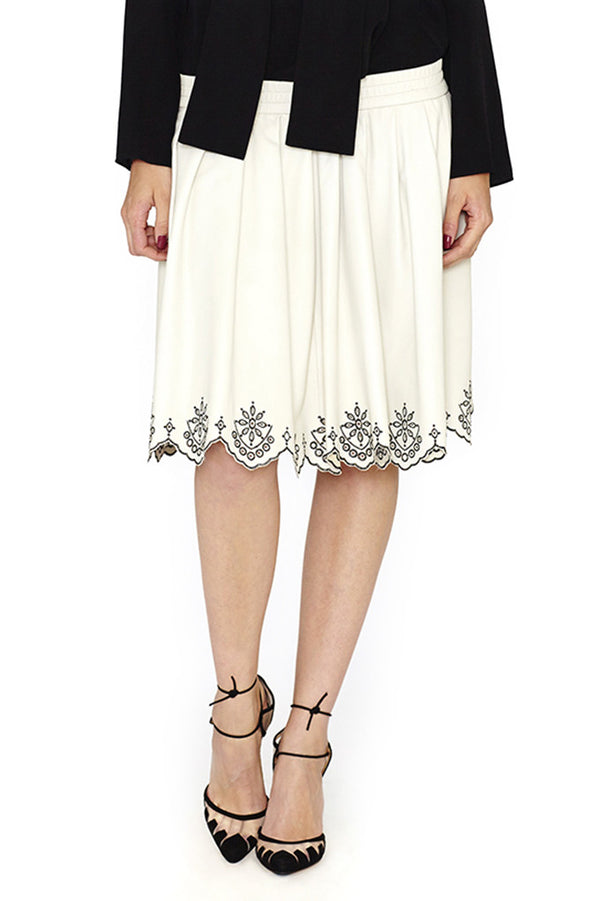 LEATHER EMBROIDERED SKIRT