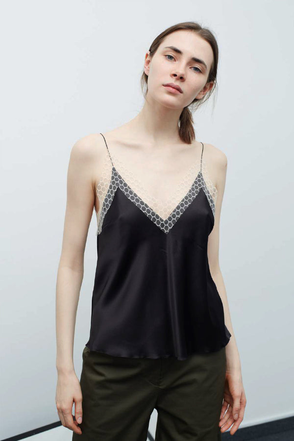 BLACK CELL LACE SLIP TOP