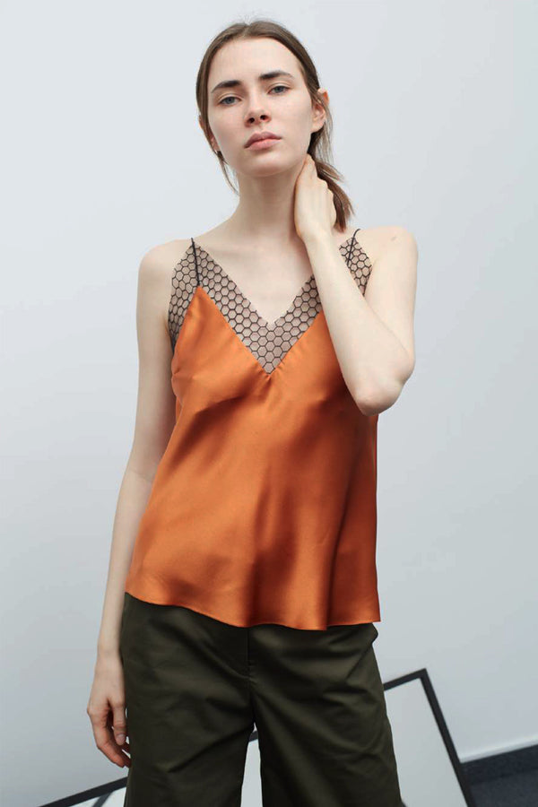 TERRACOTTA CELL LACE SLIP TOP