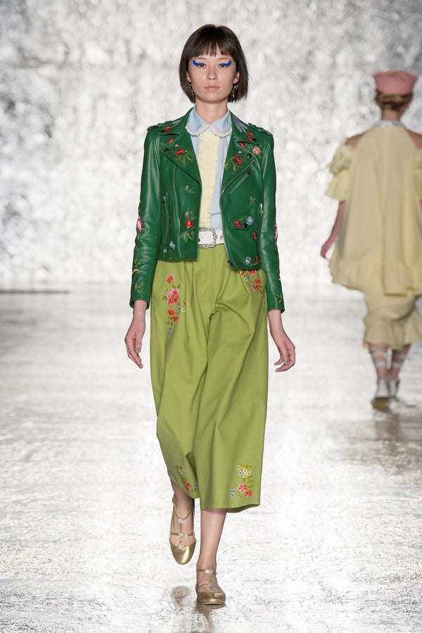 EMBROIDERED FLORAL VEDOVA NERA GREEN JACKET