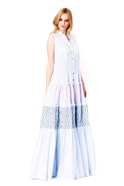 BABY BLUE STRIPED OXFORD MAXI DRESS