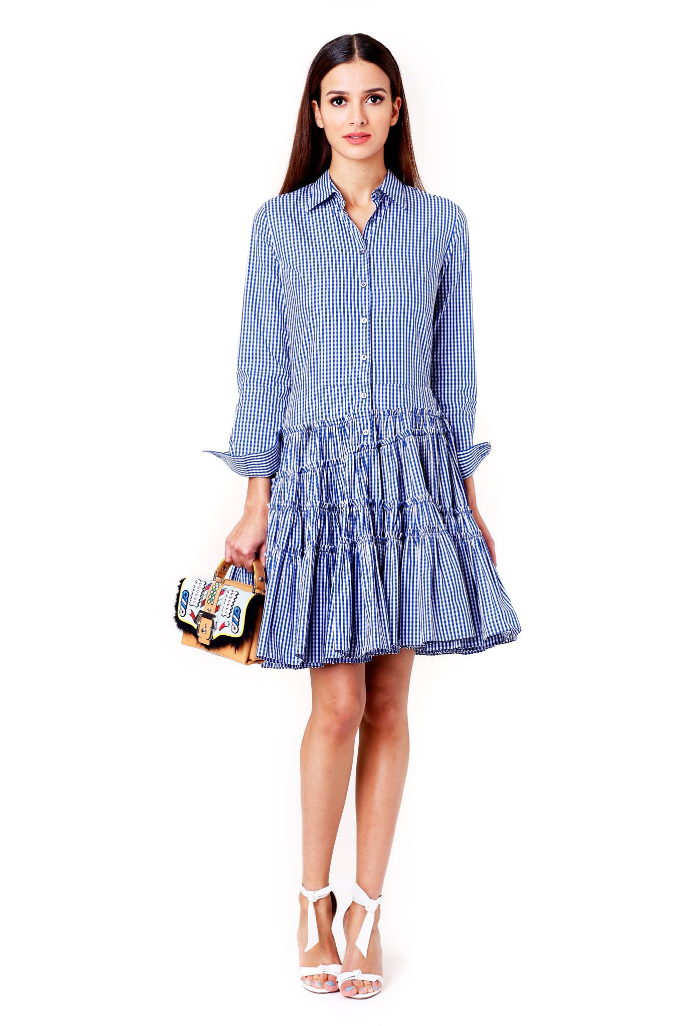 BLUE AND WHITE GINGHAM GATHERED SHIRT DRESS  JOURDEN MCPOPS