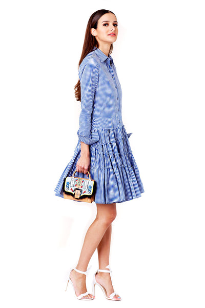 BLUE AND WHITE GINGHAM GATHERED SHIRT DRESS