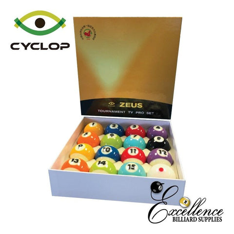 "2 1/4"" Cyclop ZEUS TV Edition Pool Balls - Excellence Billiards NZL"