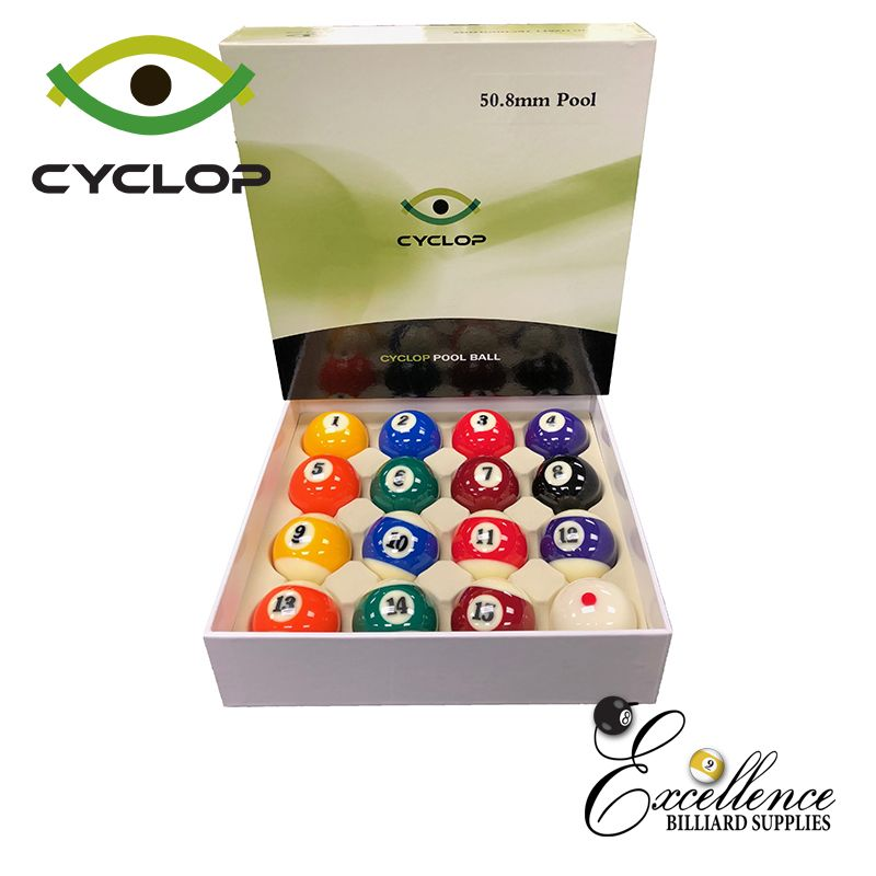 "2"" Cyclop Standard Pool Balls - Excellence Billiards"
