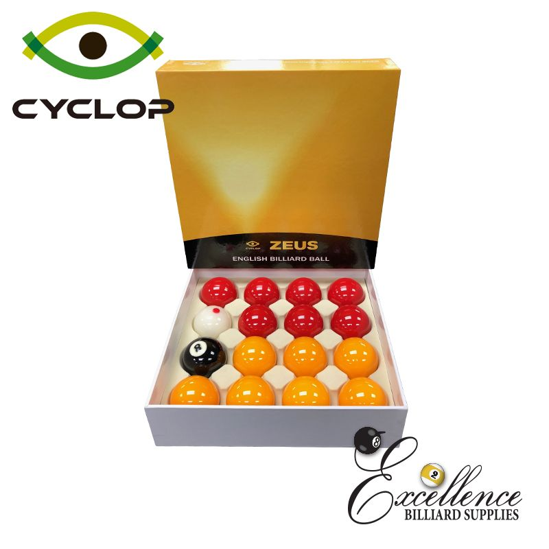 Cyclop Zeus English Pool Balls - Yellow Reds - Excellence Billiards NZL